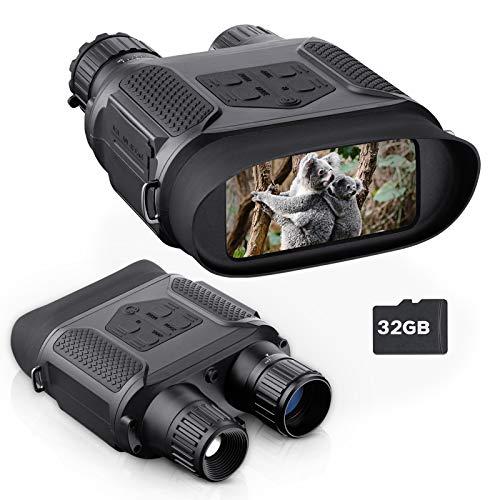 Prismáticos Vision Nocturna Digital Captura imágenes y Videos en un Entorno Totalmente Negro. Dispositivo espía infrarrojo de 7x31MM con Pantalla Grande de 4 Pulgadas y Alcance Visual de 1300 pies