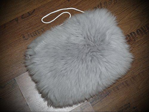 Natur-Fell-Shop Muff/Handwärmer aus echtem Lammfell/m. Kleiner Innentasche/Silber - grau
