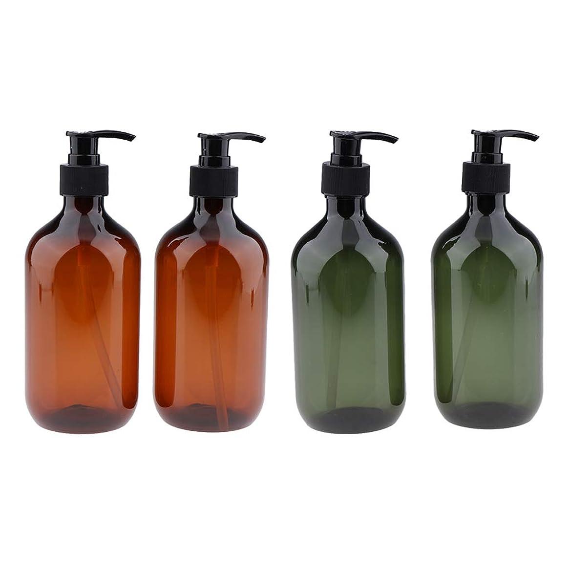 タイムリーな口実国籍gazechimp シャンプーボトル ポンプボトル 大容量 500ml 漏れ防止 空のペットボトル サロ 4本