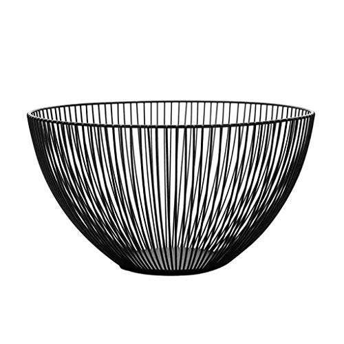 Countertop Fruit Basket Bowl Storage, KANGMOON Metal Wire Fruit Vegetable Snack Tray Bowl Basket Kitchen Storage Rack Holder for Bread, K Cup, and Decorative Items, Iron (Black)