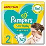 Pampers Size 2 New Baby Nappies, 240 Count, Protection For Sensitive Newborn Skin (4-8 kg / 9-18 lbs)