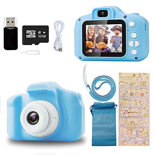 Ibello Kinderkamera Digitalkamera Spielzeug 1080P 2 Zoll HD-Bildschirm 32GB TF-Karte 2 bis 8 Jahren Stoßfeste Video Deutsches System Mehere Fotomodi Spiele Musik Jungen und Mädchen Geschenk(Blau)
