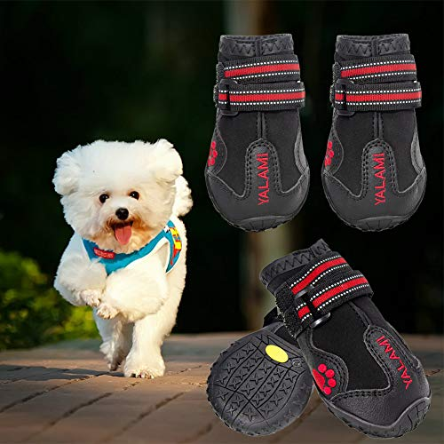 YALAMI Dog Shoes Waterproof Dog Booties with Reflective Straps Non Slip Dog Boots Rugged Sole Outdoor Shoes for Medium to Large Dogs 4PCS - Size 6