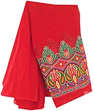 Sewing dressmaking fabric by the yard, indian african wedding bridal Material Blouse Fabric Red pure georgette kutch motif embroidery dress bridal (2 Yard)