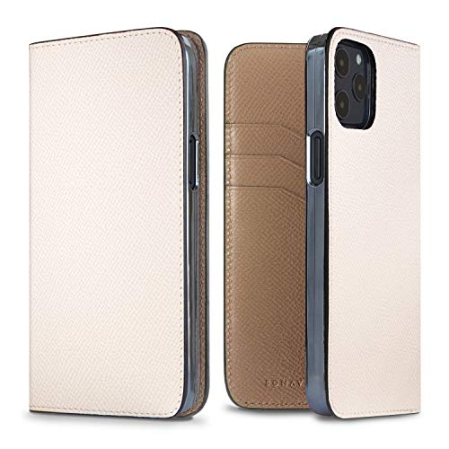 BONAVENTURA Noblessa Diary Smartphone Hülle [Kompatibel mit iPhone 12/12 Pro, Weiß und Etoupe] BODN12-WHET