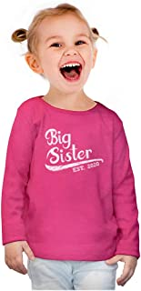 Big Sister Est 2020 - Sibling Gift Idea Toddler Girls Fitted Long Sleeve T-Shirt