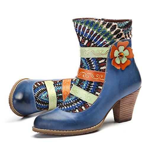 Botas Mujer Cuero, gracosy Zapatos De Otoño e Invierno para Mujeres Botas Tacón Alto Patrón Clásico Ante Botines Azul Rojo Negro con Cremallera para Mujer