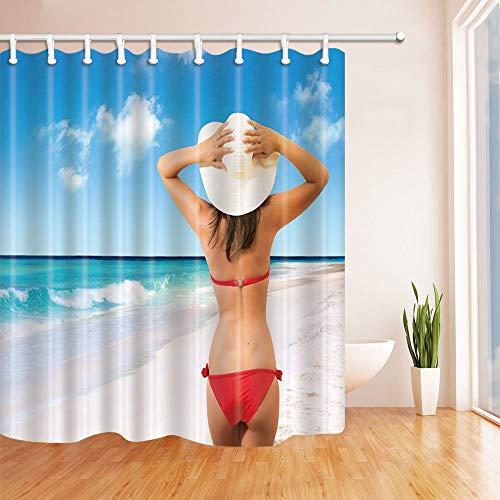LRSJD Bella Dame met bikini rood dicht bij de zee douchegordijn gemaakt van polyester waterdicht 71 x 71 in douchegordijnen inclusief haken blauw rood