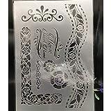 HQERUS Modello di Mandala 29 * 21 cm A4 Fogli ondulati Fai da Te Stencil stratificazione Parete Pittura Album da colorare goffratura Album Decorativo Modello di Carta