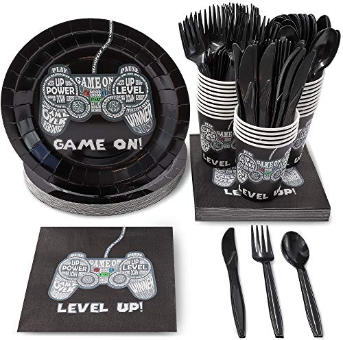 Juvale Video Game Party Supplies, Disposable Tableware (Serves 24, 144 Pieces)