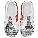 Linomo Red Tree Eiffel Tower Paris City Pantuflas para mujer,...