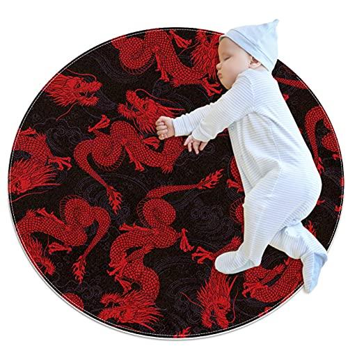 Indimization patrón de dragón Rojo Alfombra Redonda Alfombra Redonda decoración Arte Antideslizante niños Lavables a máquin Suave Sala Estar Dormitorio de Juegos para 80x80cm