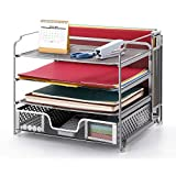 Simple Trending 4-Trays Mesh Office Supplies Desk Organizer, Desktop File Holder with Drawer Organizer and Vertical Upright Section for Office Home, Silver