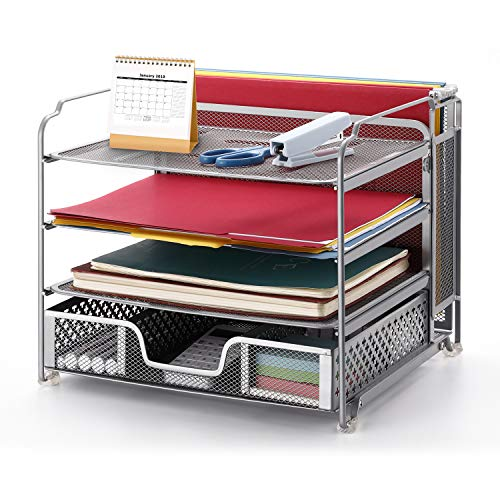 Simple Trending 4-Trays Mesh Office Supplies Desk Organizer, Desktop Hanging File Holder with Drawer Organizer and Vertical Upright Section for Office Home, Silver