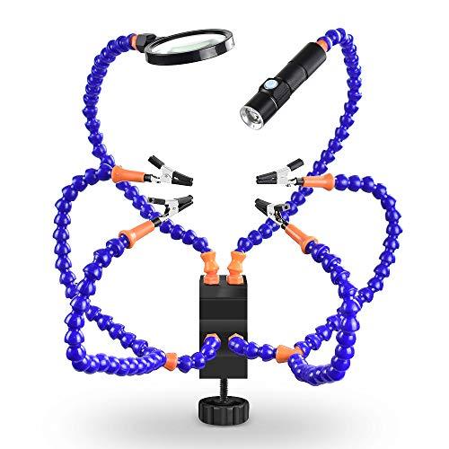 STHfficial tafelklem solderen van derde hand met 3X vergrootglas lasafvoerventilator USB oplaadbare zaklamp solderinghouder