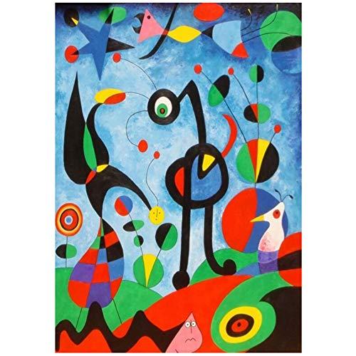 NIEMENGZHEN Pinturas en Lienzo Arte de la Pared Carteles e Impresiones Joan Miro Famosos Cuadros en Lienzo para la decoración del hogar de la Sala de Estar 15.7
