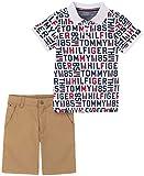 Tommy Hilfiger Boys' 2 Pieces Polo Shorts Set, White Ground Print/British Khaki, 4T