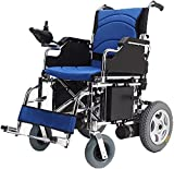 MENG Electric Wheelchair Breathable Seat Cushion Folding Lightweight Wheelchair Electric Automatic Scooter Travel Portable Four-Wheel Trolley for The Elderly,Blue