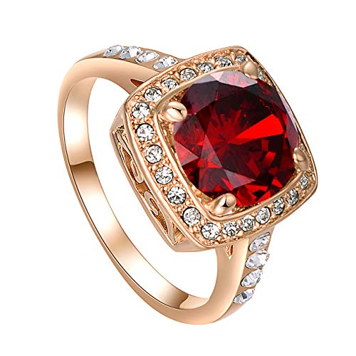 vogem Gold Dress Rings for Women 3Ct Cushion Cut CZ Topaz Red Ruby Wedding Engagement Fashion Cocktail Ring