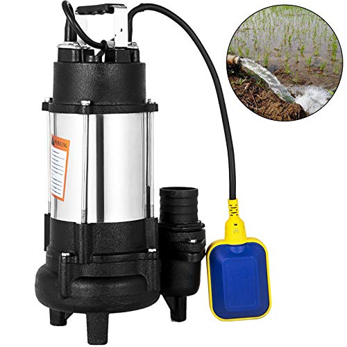 Happybuy Sewage Pump 1 HP 110V 6340 GPH 62' Lift 304 Stainless Steel Heavy Duty with 15' Cable and Piggy Back Float Switch for Family Enterprise Garden Sprinkling
