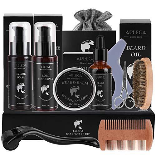 Beard Growth Kit, Arlega 10 In 1 Beard Kit For Men with Beard Oil, Beard Balm, Beard Conditioner, Beard Wash, Beard Roller, Brush, Comb, Scissors & Storage Bag, Best Gifts for Man
