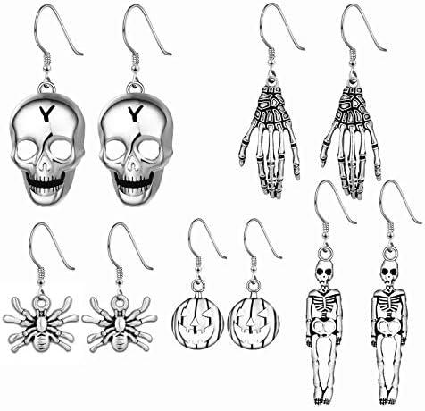 Halloween Theme Drop Dangle Earrings Sets Including Halloween Spider Pumpkin Ghost Bat Moon product image