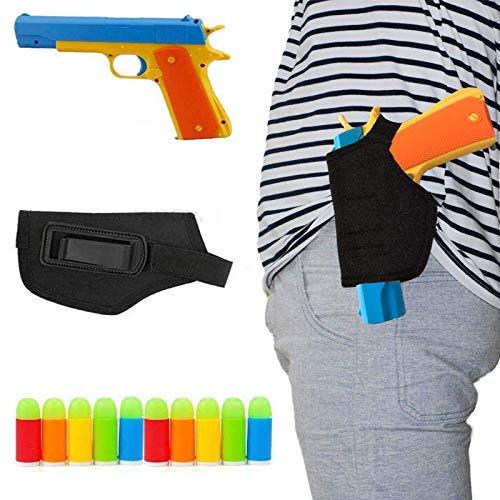 WAOOTUENTL Classic Foam Play Toy Gun Kids Colt 1911 Toy Gun with Tactical Holster and Colorful Soft Bullets,Fun Outdoor Game,Blue