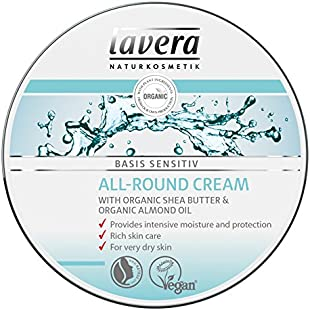 lavera All Round Cream basis sensitiv ∙ Shea Butter & Almond Oil ∙ Intensive Moisture & Protection ∙ For Very Dry Skin ∙ Vegan ✔ Organic Skin Care ✔ Natural & Innovative Cosmetics ✔ 150ml:Iracematravel