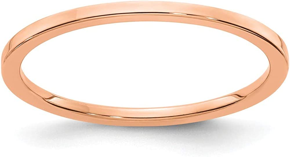 10k Rose Gold 1.2mm Flat Stackable Wedding Ring Band Size 8.00 Classic Fine Jewelry For Women Gifts For Her