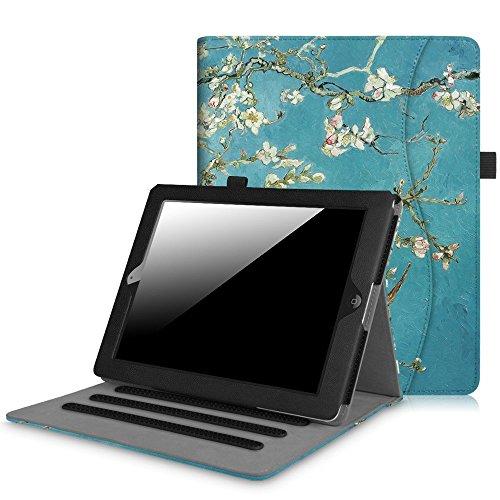 Hülle für iPad 2 / iPad 3 / iPad 4 - [Eckenschutz] Multi-Winkel Betrachtung Folio Stand Schutzhülle Cover Case mit Dokumentschlitze, Auto Schlaf/Wach Funktion, Mandelblüten