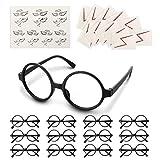 Lihao Lote de 50 gafas redondas negras de magia, sin cristales y tatuajes de relámpagos, para cumpleaños, fiestas temáticas de Harry Potter, Halloween, disfraces