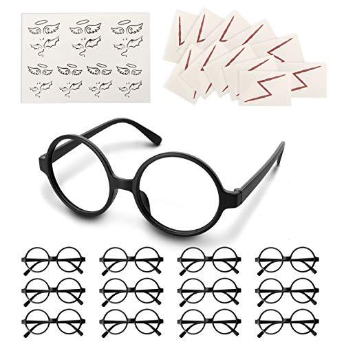 LIHAO Lot de 50pcs Lunettes Rondes de Magie Noire pas de Lentills avec Tatouages à Éclair pour Anniversaire, Soirée en Thème Harry Potter, Halloween, Déguisement