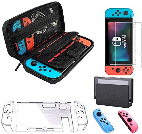 Carrying Case for Nintendo Switch with 2 Pack Screen Protector Joy Con Cover Transparent Hard Cover for Nintendo Switch Console Accessories
