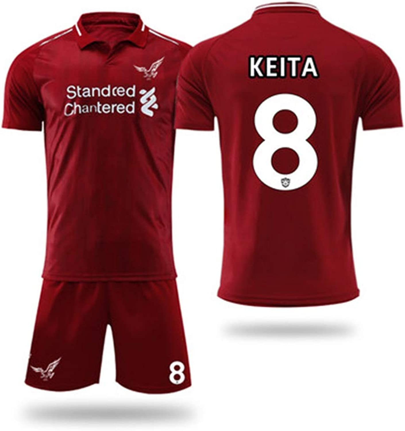 YAXIAO Short-Sleeved T-Shirt Shorts Liverpool Jersey Home Football Training Suit Sportswear Suit T-Shirt (color   A, Size   S)