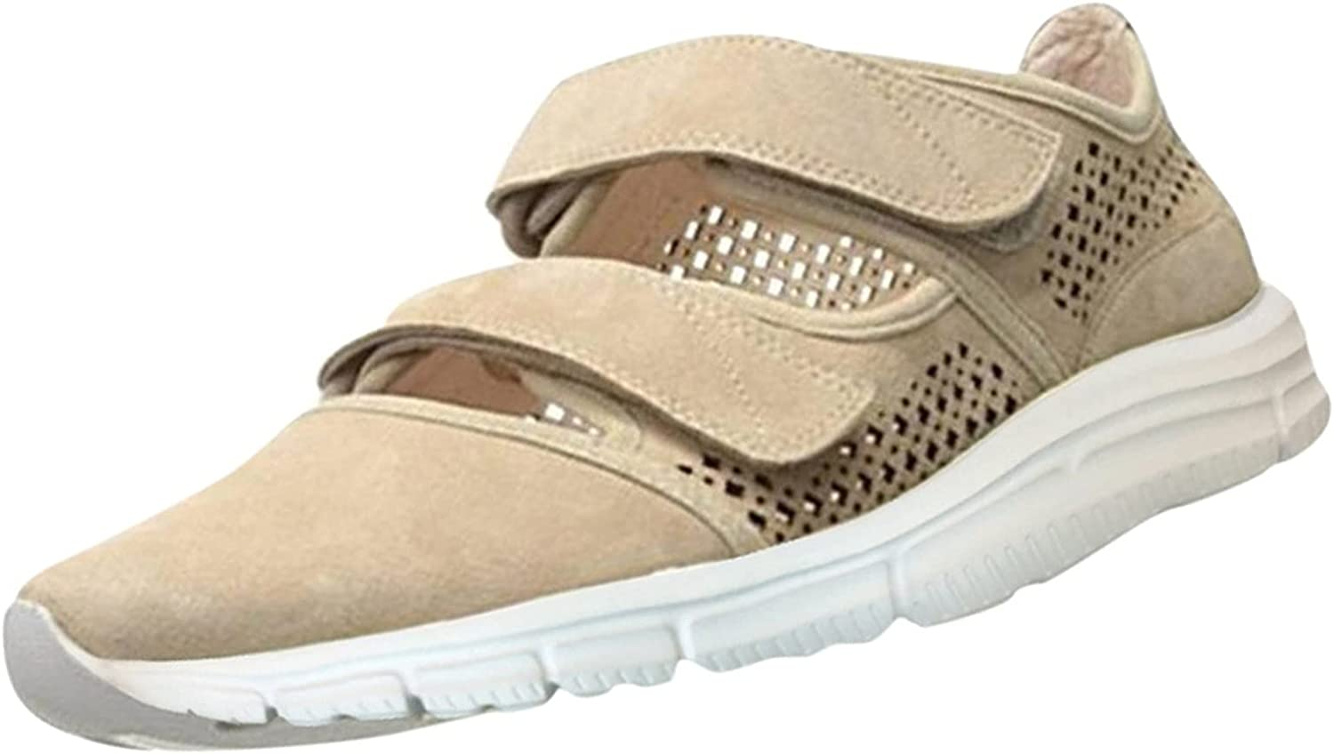 FADK Fashion Women's Light Comfortable Sneakers Solid Color Hollow Out Velcro Casual Shoes
