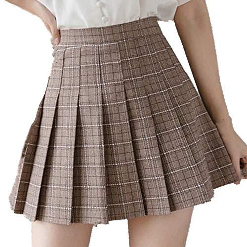 N\P Verano Invierno Mujer Mini Cintura Alta Falda Plisada Rayas Cuadros Faldas Forro Cortos Sexy