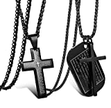 Jstyle 2Pcs Stainless Steel Black Dog Tag Cross Necklace Pendant Necklace for Men Lord's Prayer Necklace Military Tag with Rolo Chain Wheat Chain 24 Inches