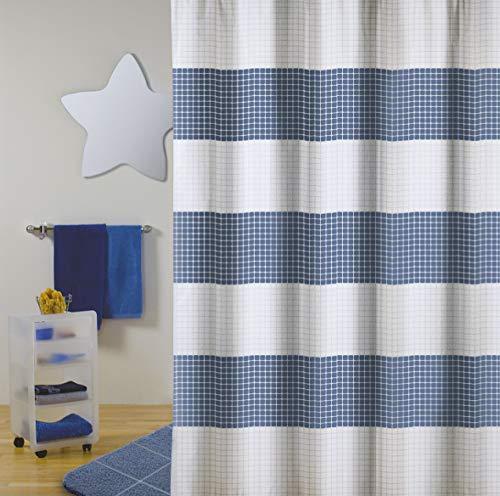 """Cotexsa by MSV Premium Anti-Schimmel Textil Duschvorhang - Anti-Bakteriell, waschbar, 100% wasserdicht, mit 12 Duschvorhangringen - Polyester, """"Quadro"""" Blau Weiß 180x200cm – Made in Spain"""