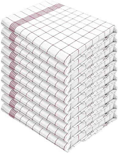 normani 10 x Halbleinen Geschirrtücher, Geschirrtuch, Küchentuch, Abtrocktuch waschbar bis 60° C Farbe Rot-Kariert