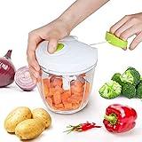 Edaygo 2 en 1 Ustensile de Cuisine mixeur Manuel mélange Tout, Hachoir Universel avec Ficelle, Hachoir d'ail, broyeur de légumes, Machine à hacher Viande et ognons, 900 ML
