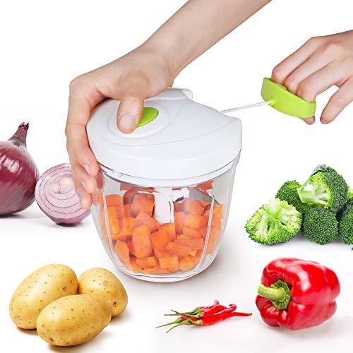 Edaygo 2 in 1 Küchengerät Küchenmixer Zerkleinerer Universalzerkleinerer Multizerkleinerer Gemüsehobel Seilzug, 900 ml