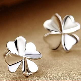 Nongkhai shop Women's Cute Lucky Clover Shape Earrings 925 Silver Ear Stud Fashion Jewelry