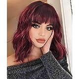 AOMOSA court Bob perruques vin rouge couleur bouclés Bob perruques élégantes avec frange pour les femmes noires fibre naturelle résistante à la chaleur 16 '