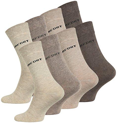 VCA 8 Paar Herren COMFORT Socken, ohne Gummib&, Baumwolle mit Elasthan in verschiedenen Farben (43-46, Braun)