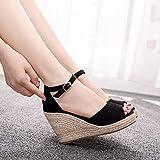WAXFAS 9cm Keil Stroh High Heel Sandalen Boho Stil Fischmaul Sandalen kleine Damenschuhe einfache und Bequeme High Heels