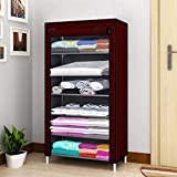 Keekos 6 Layer Fancy and Portable Foldable Collapsible Storage Rack for Kids and Women, Clothes Cabinet, Bedroom Organiser Closet/Cabinet (Maroon)