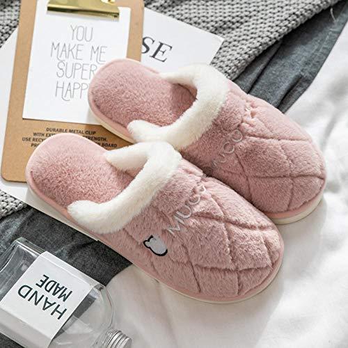 Nuevas zapatillas Slip On Mules para hombre,Zapatillas de casa cálidas, zapatos de algodón antideslizantes resistentes al desgaste-pink_39-40,Zapatos de interior para mujer lavables para hombres
