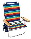 Rio Gear Beach Genuine Beach Bum 4-Position 12' Seat Height Folding Beach Chair - Surf Power Blue/Multi Stripe