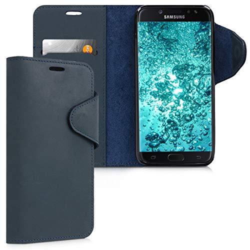kalibri Hülle kompatibel mit Samsung Galaxy J7 (2017) DUOS - Leder Handyhülle Handy Hülle Cover - Schutzhülle in Dunkelblau