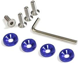 iJDMTOY (4 JDM Racing Style Blue Aluminum Washers Bolts Kit for Car License Plate Frame, Fender, Bumper, Engine Bay, etc